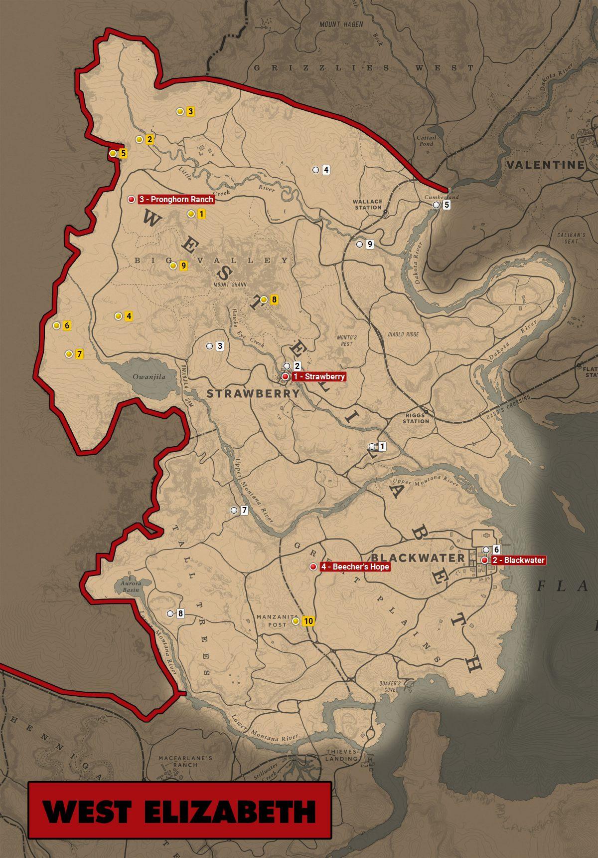 Red Dead 2 World Map.West Elizabeth Red Dead Redemption 2 World Atlas Map Red Dead