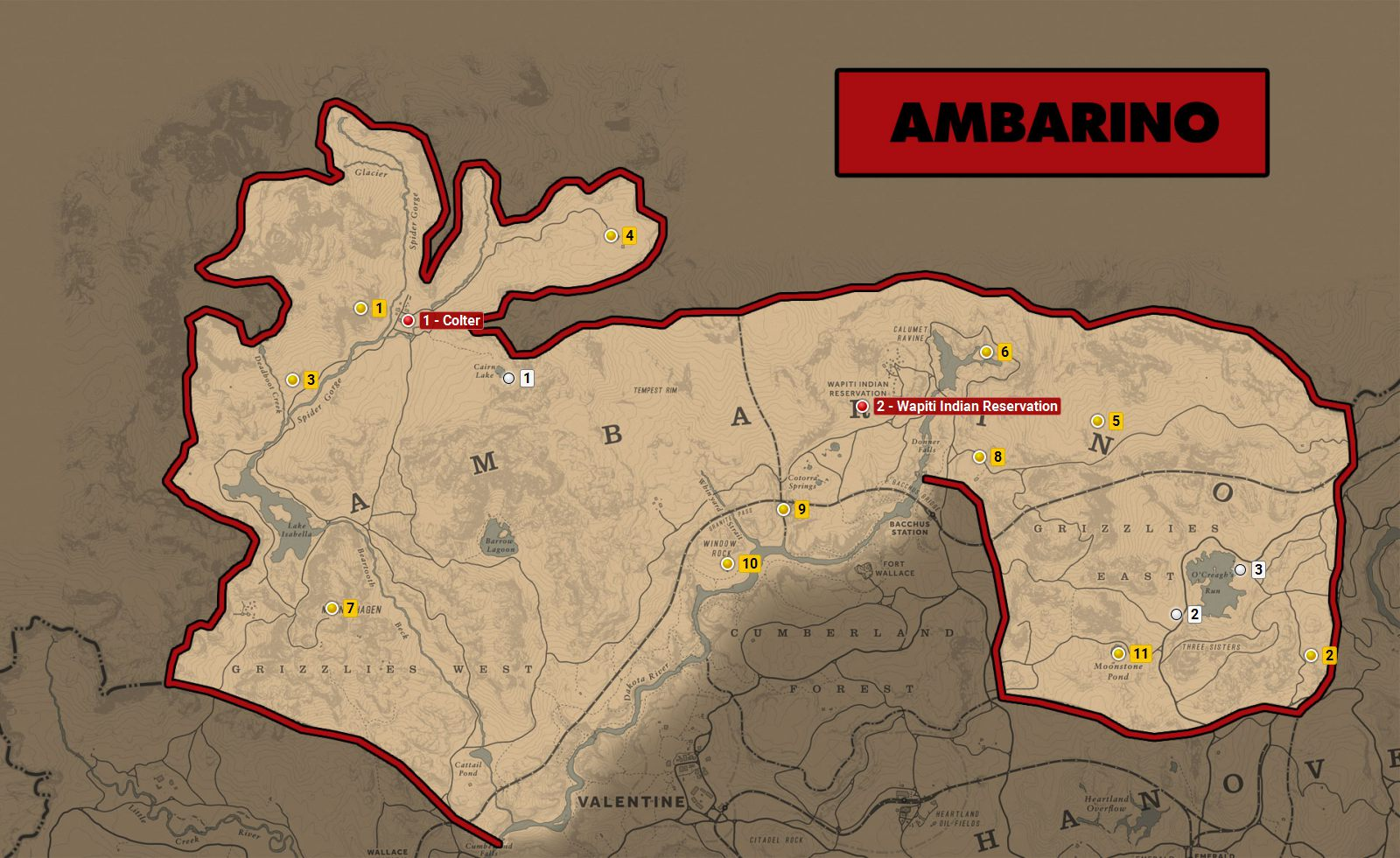 Ambarino - Red Dead Redemption 2 World Atlas Map - Red Dead