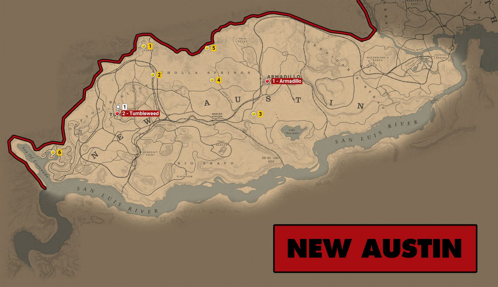 New Austin - Red Dead Redemption 2 World Atlas Map - Red Dead ...