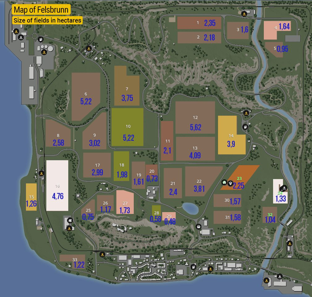 Felsbrunn Map | Maps and field sizes in Farming Simulator 19