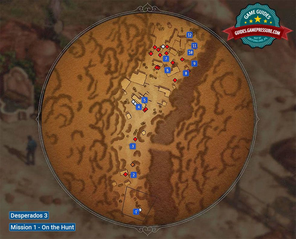 Desperados 3 Map Of Mission 1 On The Hunt Desperados 3 Game Guide Gamepressure Com