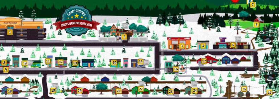 Map Of South Park South Park East | Controls   South Park: The Stick of Truth Game