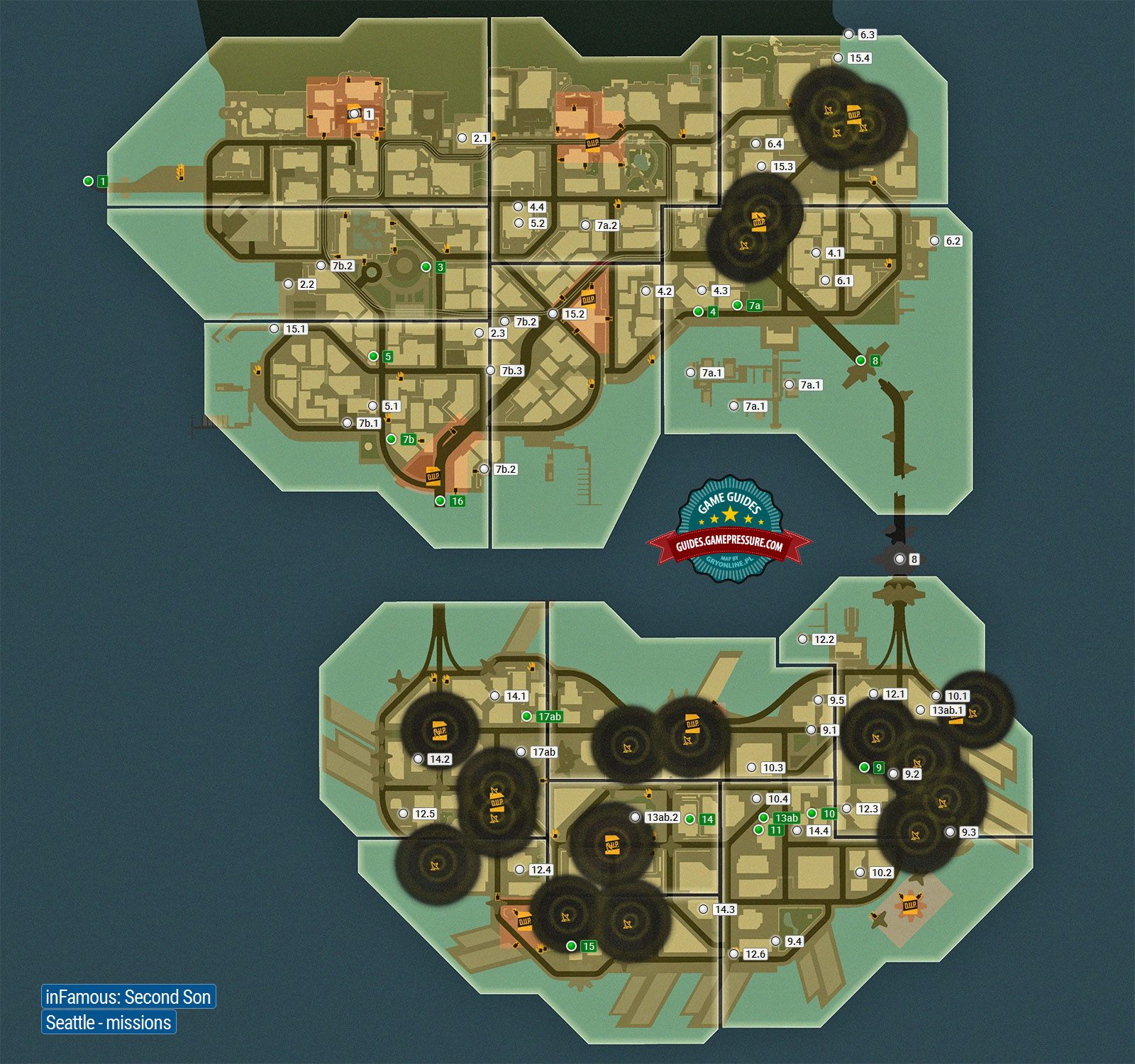 Map Of Seattle Quests City Infamous Second Son Game