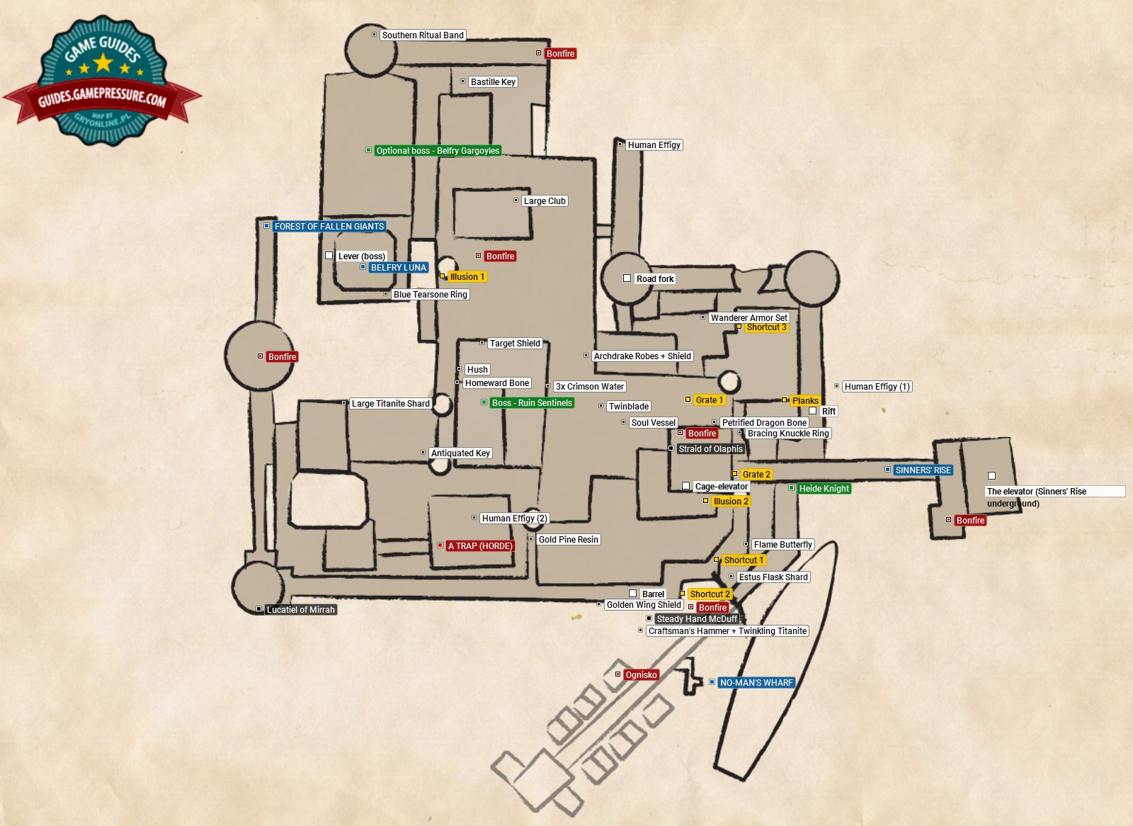 The Lost Bastille | Walkthrough - Dark Souls II Game Guide ... Dark Souls Scholar Of The First Sin Map on dark souls 2 xbox one, dark souls 2 giant sword, dark souls 2 pursuer, dark souls 2 knight,