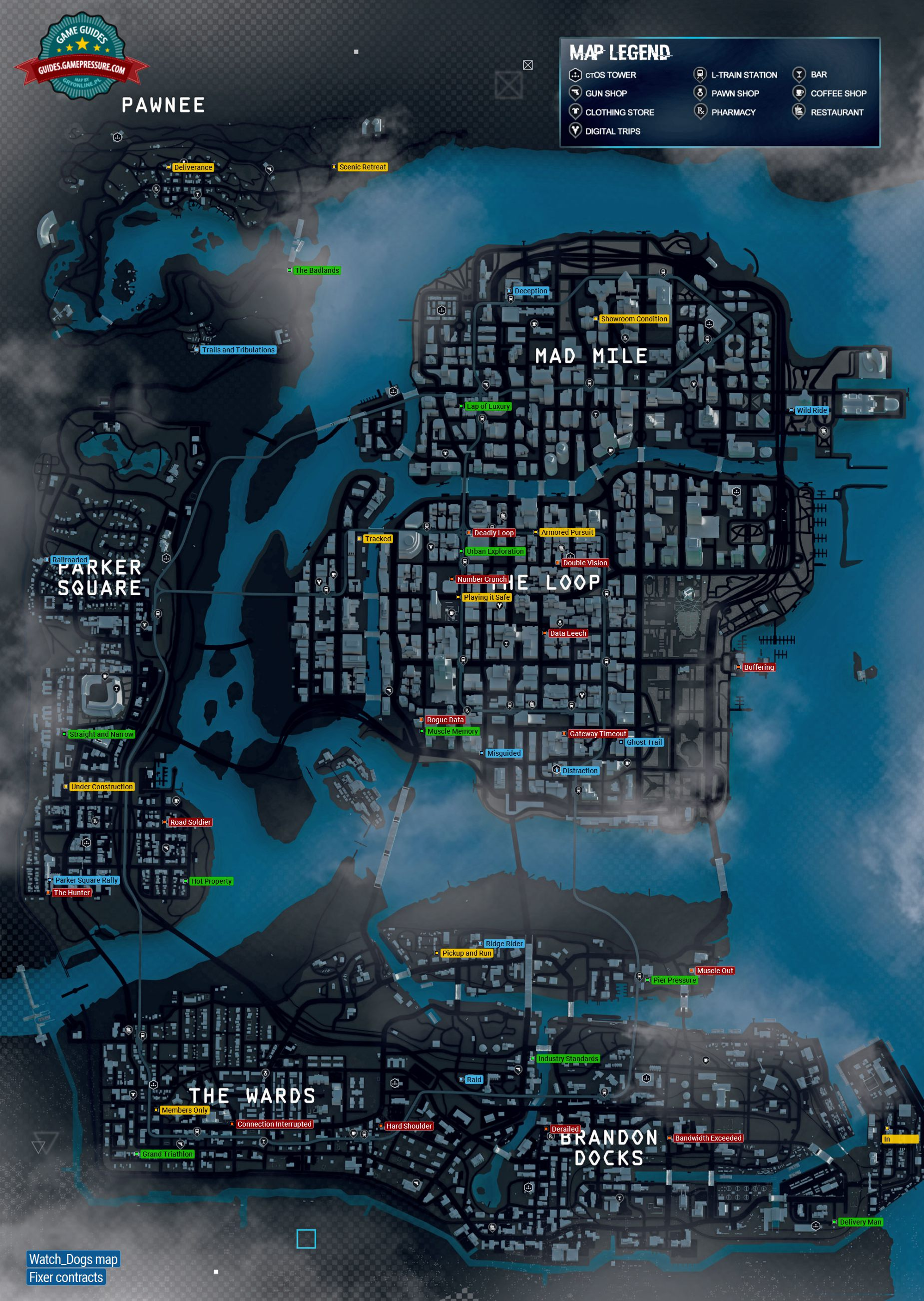 Map  Fixer Contracts  Watch Dogs Game Guide