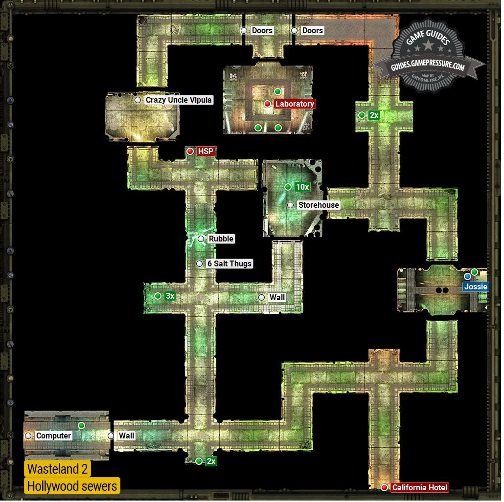 Hollywood Sewers Hollywood Locations Wasteland 2 Game Guide