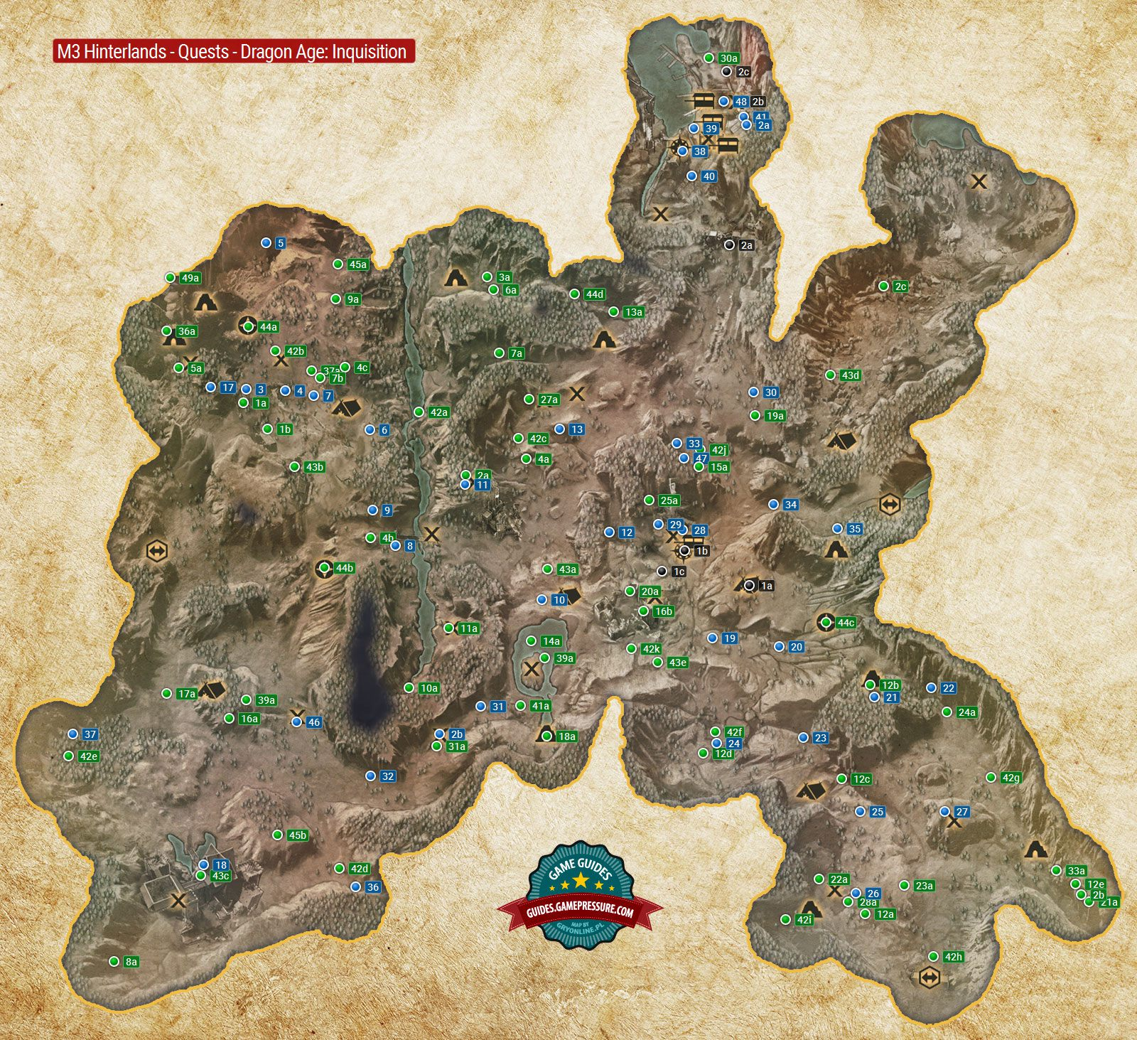 Dragon Age Map M3 The Hinterlands Quest Map   Dragon Age: Inquisition Game Guide
