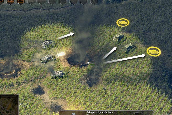 Tanks have very little field of view (look on the upper arroww on the picture above), especially in thick grass. Even one soldier teamed with your tanks can decide the outcome of the battle because of his superior field of view (lower arrows). Use it as your advantage! - Attacking and the offensive | Battle tactics - Battle tactics - Sudden Strike 4 Game Guide