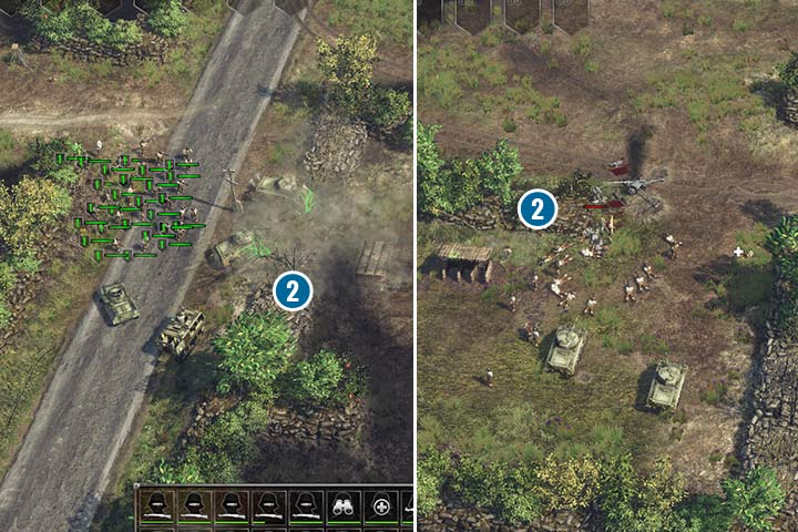 Some of the enemy positions can be approached form behind thanks to modified Sherman tanks. You can destroy those hedges that dont have any vegetation. - Mission 2 - Battle of the Hedgerows | Allied | Campaign - Allied - Sudden Strike 4 Game Guide