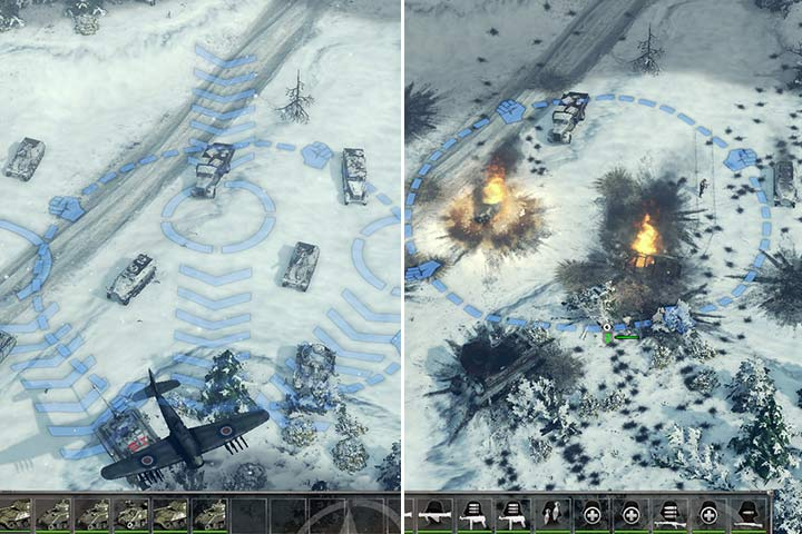 Use the limited air support wisely. Select a direction for the fighters so that the bombs can hit the backs of the vehicles and deal more damage. The remaining enemies should be destroyed with land units. - Mission 5 - Battle of the Bulge | Allied | Campaign - Allied - Sudden Strike 4 Game Guide