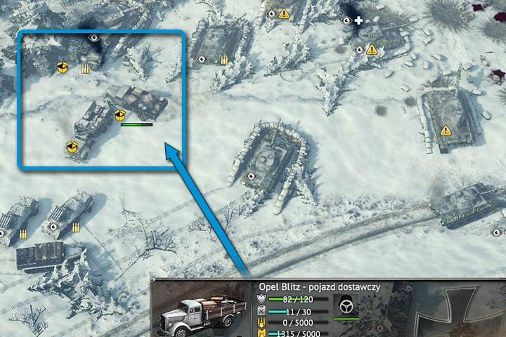 All yellow symbols inform you of necessary repairs (exclamation mark), demand for ammo (rounds), empty tank (gas canister) or low supply (open box). Delivery vehicles (arrow) can replenish supplies, whereas repair vehicles can fix damaged modules. - Transport, repair and delivery vehicles | Unit types - Unit types - Sudden Strike 4 Game Guide