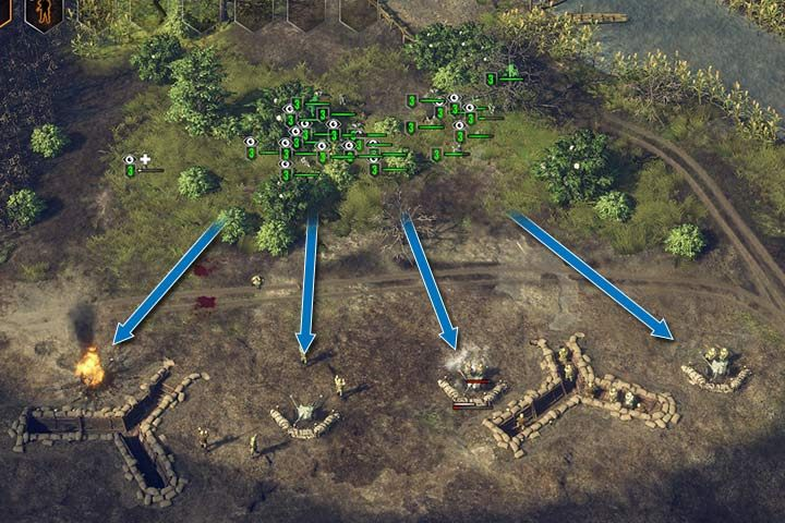 If you attack a fortification line from behind, the enemy will often surrender. - Mission 3 - Operation Barbarossa | German| Campaign - German - Sudden Strike 4 Game Guide