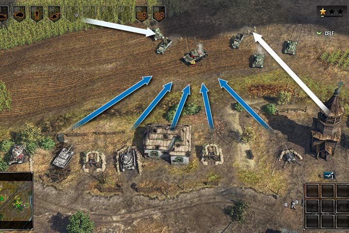 If you line up several cannons, you will gain a wide angle of fire. Even heavy tanks will not be able to resist such power. Place your infantry in the fields and the wooden tower to increase your vision (the white arrow). - Battle of Kursk | German| Campaign - German - Sudden Strike 4 Game Guide