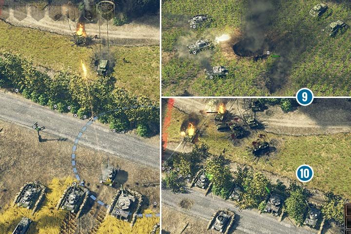 Place the first fortified line right behind the road, and keep your scouts in the small forest (see left screenshot). This will allow your tanks to destroy hostile units from a safe distance. If your tanks have camouflage, you can put them in the forest or high grass (right screenshot). Furthermore, the infantry will increase the vision. - Mission 6 - Battle of the Falaise Pocket | German| Campaign - German - Sudden Strike 4 Game Guide