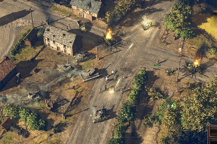 Use some tanks and the infantry to assault the town center. Let your soldiers attack from different directions, and deal more damage. - Mission 6 - Battle of the Falaise Pocket | German| Campaign - German - Sudden Strike 4 Game Guide