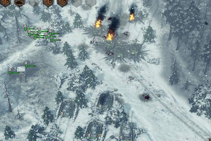 Get rid of the mines, and prepare for a counterattack. Hide your infantry and vehicles in thick bushes, so that none of your vehicles gets destroyed. - Mission 7 - Battle of the Bulge | German| Campaign - German - Sudden Strike 4 Game Guide