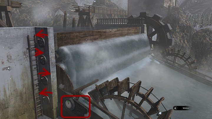 Now, climb onto the ladder and disable the top waterway by manipulating the top handle counter-clockwise (if youve havent touched any of the handles yet, the bottom one is turned off by default) - Help the Jukolians | Chapter two | Walkthrough - Chapter two - Syberia 3 Game Guide