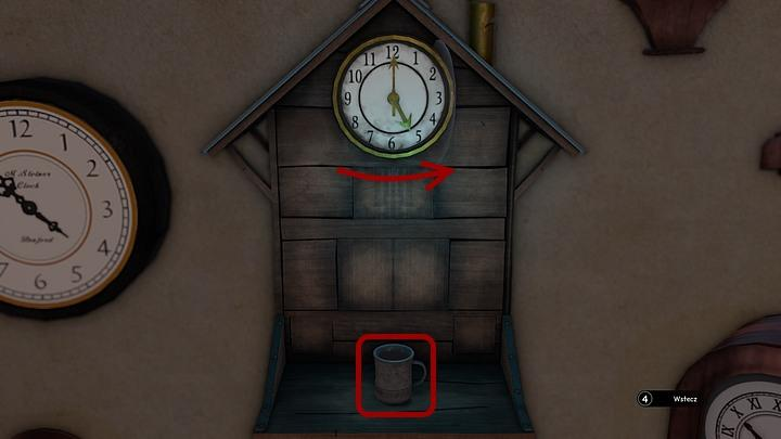 Take a look at the house-shaped clock hanging opposite to the counter (on the right side of the stairs) - Steiners medicine | Chapter three | Walkthrough - Chapter three - Syberia 3 Game Guide
