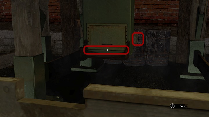 Move it close to the second chute on the opposite side of the hangar - you must stop the cart near it (the magnifying glass icon, seen when you stop zooming in at the cart, indicates that said cart is in the right spot) - Load the coal on the Krystal | Chapter three | Walkthrough - Chapter three - Syberia 3 Game Guide