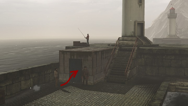 Leave the ferry - head to the right of the stairs that lead to it, and then go along the shore until you reach a large platform, with a tower that resembles a lighthouse on top of it - Assemble and prepare the diving gear | Chapter three | Walkthrough - Chapter three - Syberia 3 Game Guide