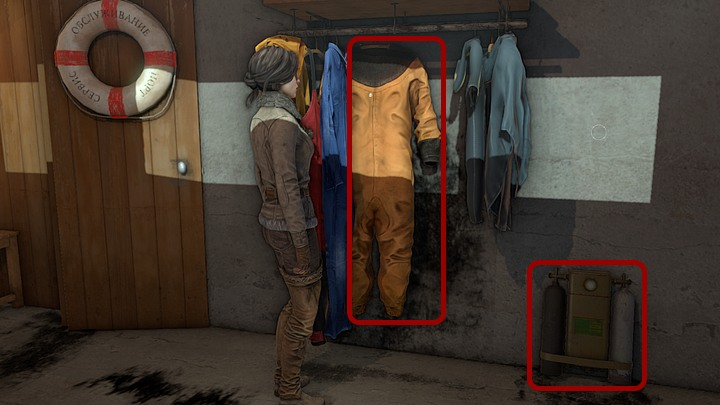 In the storeroom from take the diving suit from the hanger by the door - in order to do that swipe (by moving the mouse in the appropriate directions) the other clothes aside, so that the large suit underneath them becomes available - Assemble and prepare the diving gear | Chapter three | Walkthrough - Chapter three - Syberia 3 Game Guide