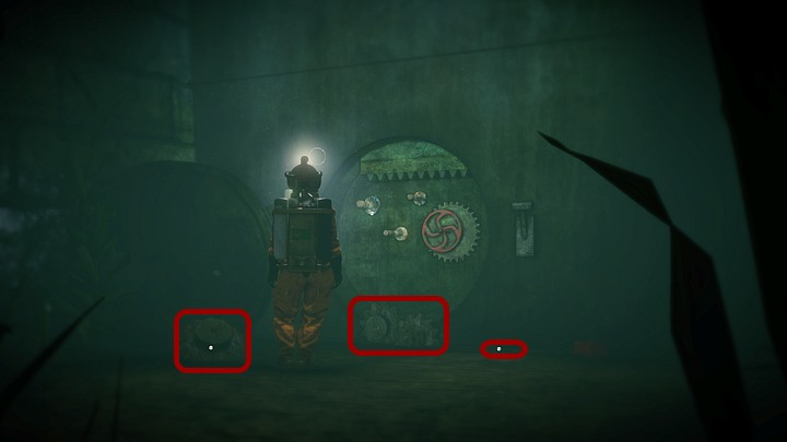 When Kate is underwater, keep going to the right and stick to the wall - after just a few steps you will encounter a large, circular recess with a valve and several bolts inside - Open the two locks | Chapter three | Walkthrough - Chapter three - Syberia 3 Game Guide
