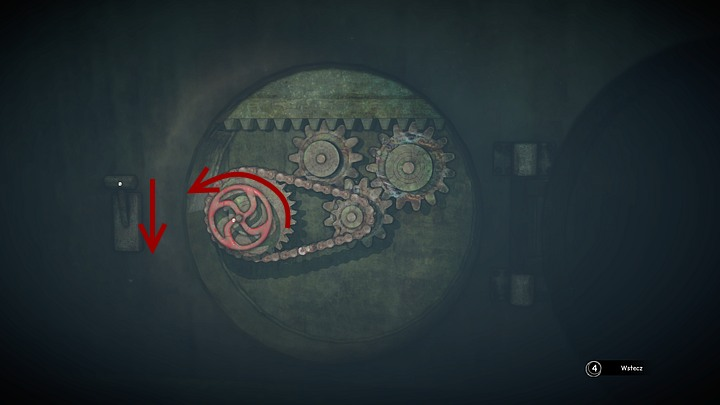 A recess with cogs and a chain will be unveiled - turn (with the correct mouse movement) the valve to the left as far as possible, and then pull the lever (with the correct mouse movement) on the left down - Open the two locks | Chapter three | Walkthrough - Chapter three - Syberia 3 Game Guide