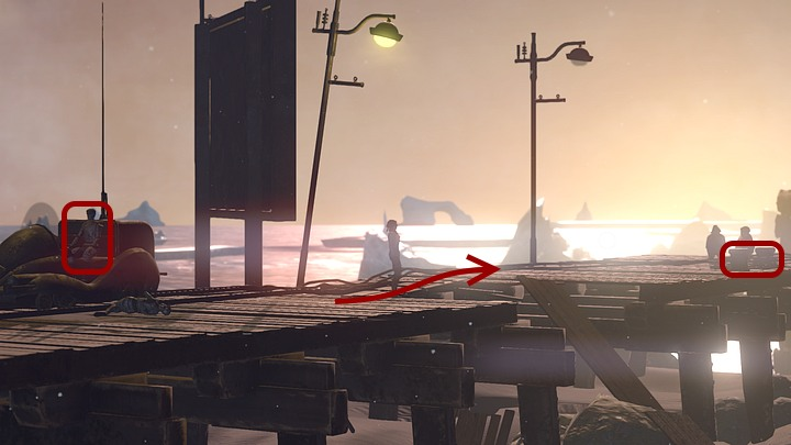 Through the makeshift bridge that has connected the pier in the meantime, approach the Youkols standing near the ship - Help Oscar tug the Krystal | Chapter five | Walkthrough - Chapter five - Syberia 3 Game Guide