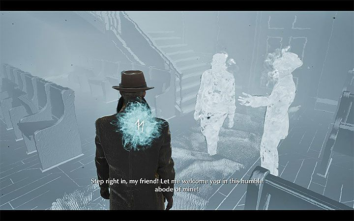 In front of the stage will be the blue cloud, so you can begin to retrocognition - Self-Defense | The Sinking City walkthrough - Main cases - The Sinking City Guide