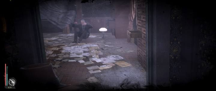 In an empty, padlocked room you will find a bookcase that can be revealed by Minds Eye - Assigned Reading | The Sinking City walkthrough - Side cases - The Sinking City Guide