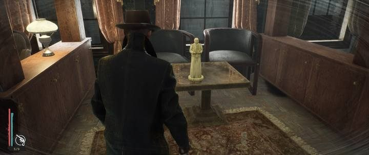 Inside, look at the yellow figure on the table with your Minds Eye - Assigned Reading | The Sinking City walkthrough - Side cases - The Sinking City Guide