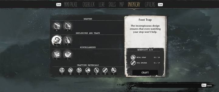 The creation of new items is done by clicking the Craft button in the Inventory tab, after selecting the appropriate item - Crafting in The Sinking City - Basics - The Sinking City Guide
