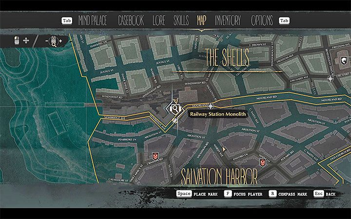 Railway Station Monolith can be found on the border of the Shells and Salvation Harbor districts - as we have presented it in the above picture - Into the Depths | The Sinking City walkthrough - Main cases - The Sinking City Guide