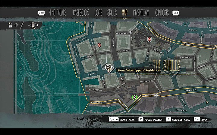 Stone Worshippers Residence is situated in the center of the Shells district - Into the Depths | The Sinking City walkthrough - Main cases - The Sinking City Guide