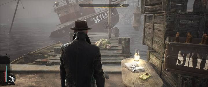 Walking down the street, you will see cargo boxes signed Skylark in the port on the side of the - the damaged ship is near the pier - Bounty of the Sea | The Sinking City walkthrough - Side cases - The Sinking City Guide