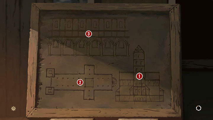 When playing as Tom, show the Prior sketches that you want to discuss (it would be best to do it in a specific order): cross-section (1 � tower, central nave, side naves, and abutments), horizontal projection (2 � sanctuary, transept, and central nave) and the project (3 � clerestory, triforium, and - Chapter Seven - Rebirth of Kingsbridge - Book One: From the Ashes - The Pillars of the Earth Game Guide