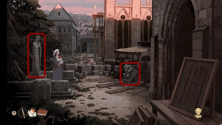 When Aliena is back at the construction site of the Cathedral in Tours, click the statue of the Virgin Mary (on the left) so that the girl can pray - Chapter Fifteen - The Journey (Cherbourg; Tours; Puente la Reina; Santiago de Compostela; Toledo; Paris) - Book Three: Eye of the Storm - The Pillars of the Earth Game Guide