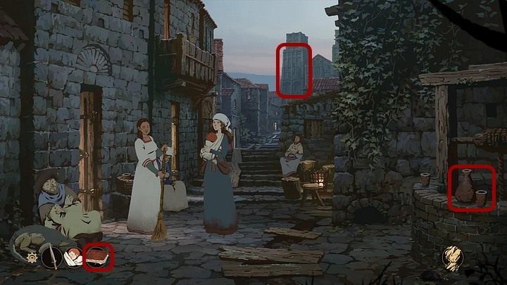 Talk with the woman who sweeps cobblestones in front of the tavern - Chapter Fifteen - The Journey (Cherbourg; Tours; Puente la Reina; Santiago de Compostela; Toledo; Paris) - Book Three: Eye of the Storm - The Pillars of the Earth Game Guide
