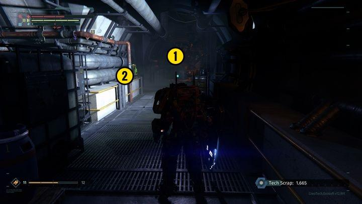 When you reach the spot presented in the screenshot [1], another machine, hiding behind the crates, will stand in your way - Resolve BioLab | Walkthrough - Walkthrough - The Surge Game Guide