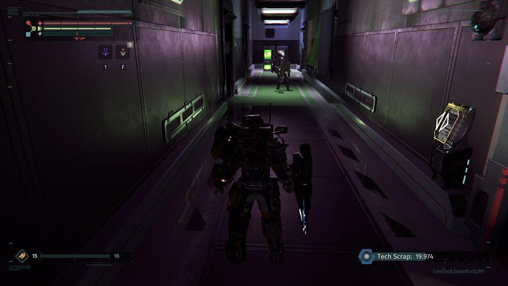 In the end, you will have to jump down to a spot presented in the screenshot - Research Zone | Walkthrough - Walkthrough - The Surge Game Guide