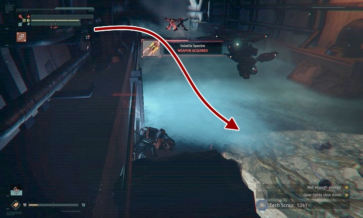 You will find another weapon among the poisonous gas - Abandoned Production | Walkthrough - Walkthrough - The Surge Game Guide