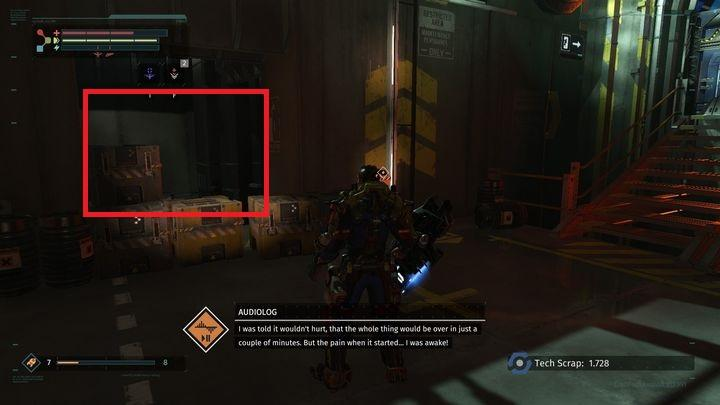 Destroy the obstacle and jump on the lower platform - Central Production B | Walkthrough - Walkthrough - The Surge Game Guide