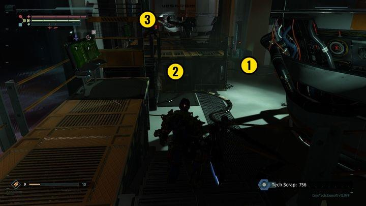 Go down and you will reach the place presented in the screenshot - Central Production B | Walkthrough - Walkthrough - The Surge Game Guide