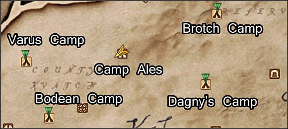 There will be 4 new markers on your map, indicating the parts' whereabouts: Varus Camp, Bodean Camp, Dagny's Camp, and Brotch Camp - Repairing the Orrery - Plug-ins - The Elder Scrolls IV: Oblivion - Game Guide and Walkthrough