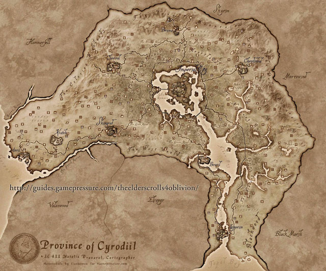Oblivion World Map - Detailed map of Cyrodiil - Province of Cyrodiil - The Elder Scrolls IV: Oblivion - Game Guide and Walkthrough