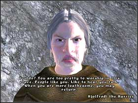 When you're as ugly as you can get, talk to Hjolfrodi again, and she'll let you speak to Namira - Daedric Quests part II - Other - The Elder Scrolls IV: Oblivion - Game Guide and Walkthrough