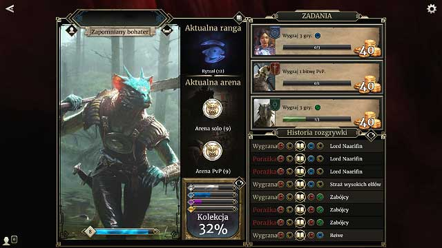 You can access the profile straight from the main menu, by clicking your hero icon in the lower left corner - Rules and tips for beginners - The basics - The Elder Scrolls: Legends Game Guide