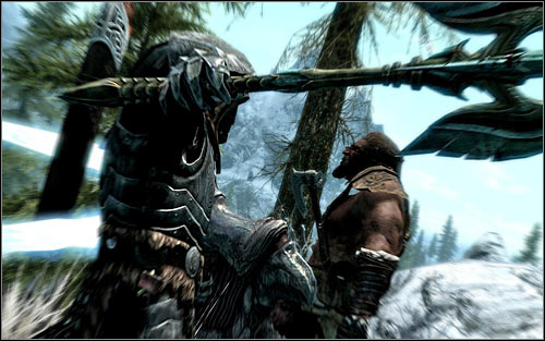 Depending on your preferences, you can attack bandit without warning (screen above) or after a short conversation with him - Escaped Criminal - The Companions quests - The Elder Scrolls V: Skyrim Game Guide