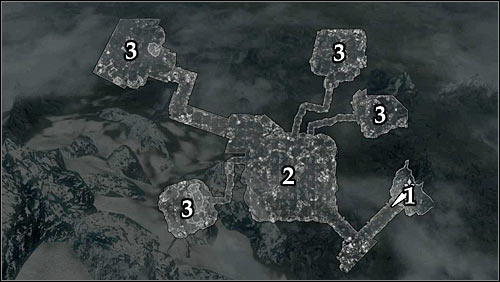 Markings on the map: 1 - Start place; 2 - Location of the first witch; 3 - Locations of the other witches - Bloods Honor - The Companions quests - The Elder Scrolls V: Skyrim Game Guide