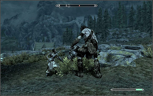 After getting to the farm you should see a group of people fighting with a giant (screen above) - Take up Arms - The Companions quests - The Elder Scrolls V: Skyrim Game Guide